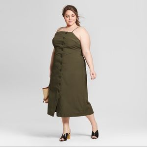 NWT Plus Size Midi Button Up Dress, Army Green